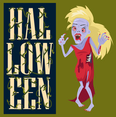 Halloween Creepy Poster on Vector Illustration