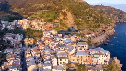Aerial view of Manarola, Five Lands, Italy