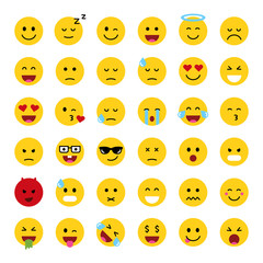 Set of cute smiley emoticons, flat design, vector illustration