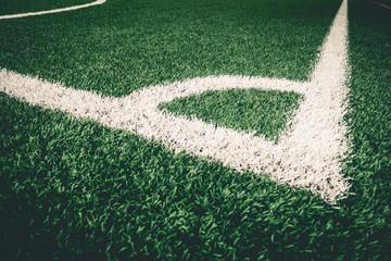 Corner kick white line on artifact grass for soccer training