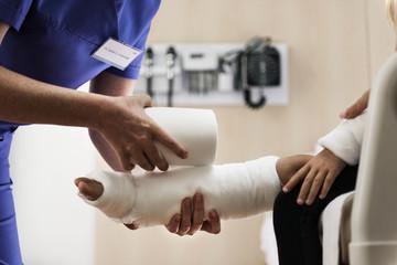 Young Caucasian girl with broken leg in plaster cast