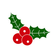 Holly berries with white outline. Christmas berries. Vector illustration