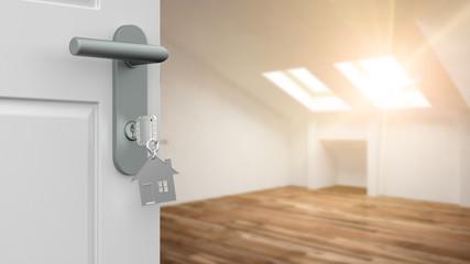 Tür mit Schlüssel und Haus vor Raum