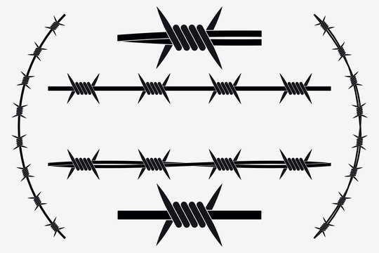 Vector Seamless Silhouette of Barbed Wire