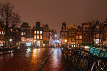 Amsterdam by night in the Netherlands at christmas time