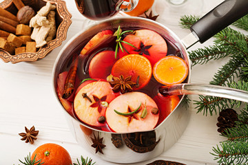 Christmas mulled wine and spices. Christmas background.