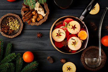 Christmas mulled wine and spices. Christmas background. Flat lay. Top view