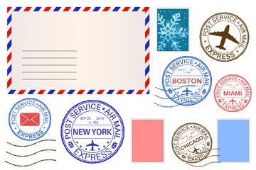 Envelope and postmarks