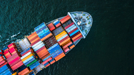 Aerial view from drone, container ship in import export and business logistic.
