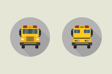 School bus vector icon in flat style