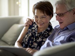 Happiness elderly couple