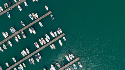Overhead view of city port with docked boats