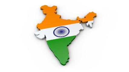 Indien - 3D Karte oder Umriss