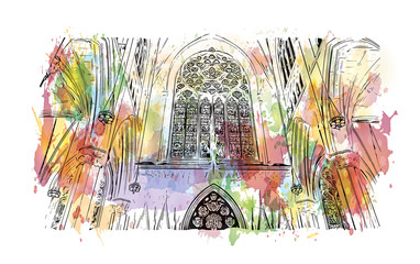 Watercolor splash with hand drawn sketch of The Cathedral of St. John the Divine, officially the Cathedral Church of Saint John, New York in vector illustra