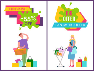 Exclusive -55 Off and Big Offer Vector Illustration