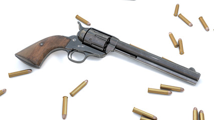 Vintage revolver background. 3D render