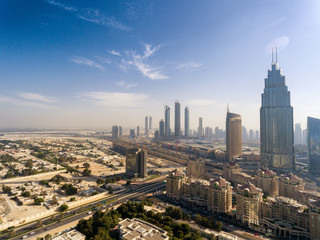 Modern skyline of Downtown Dubai on a sunny day, UAE
