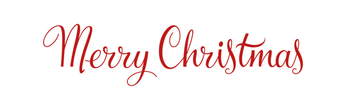 Merry Christmas vintage calligraphy vector text and xmas holiday celebration greeting card design. Horizontal red banner and poster with lettering. Typography design element. EPS 10.