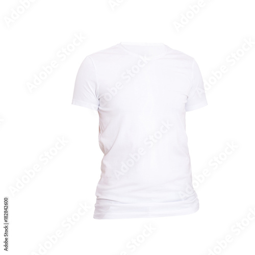 Close Up Of Blank White T Shirt Isolated On Background Macro Template