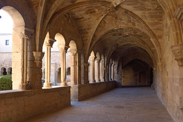 Cloister of the monastery of Vallbona de les Monges, Lleida province, Catalonia, Spain