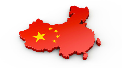 China - 3D Karte oder Umriss
