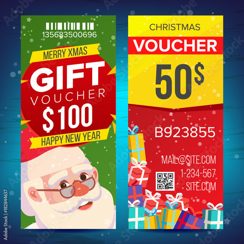 Christmas Voucher Template Vector. Vertical Card. Happy New Year. Santa  Claus And Gifts