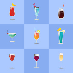 Different Cocktail Types Vector Illustration.