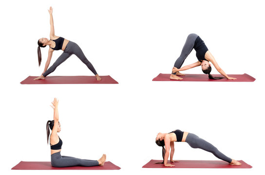 collection set of young asian woman in sportswear practicing yoga on the mat in different poses isolated on white background, exercise fitness, sport training and healthy lifestyle concept