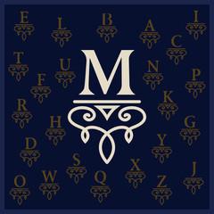 Elegant letter M. Graceful style. Calligraphic beautiful logo. Vintage drawn emblem for book design, brand name, business card, Restaurant, Boutique, Hotel. All alphabet. Vector illustration