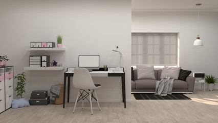 Home office minimal concept 3d illustration Interior design sofa in the modern living room copy space  and object minimal concept empty room and clean wall