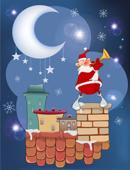 Aluminium Prints Baby room Illustration of the Cute Santa Claus Jazz Trumpet on the Roof