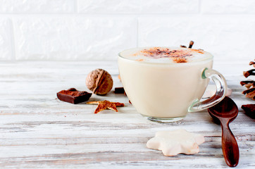 Christmas coffee with milk, spice or hot  cocoa, pine cones