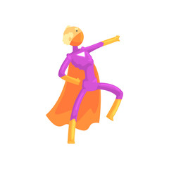 Grandfather character in comics superhero suit with orange cape and mask. Cartoon elderly man with super powers in action. Isolated flat vector