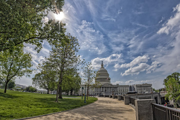 Wall Mural - Washington DC Capitol view on cloudy sky background