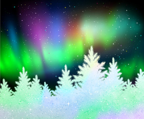Christmas background with northern lights