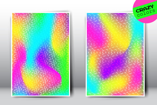 Set of vector crazy holographic gradient templates. Empty blank rainbow templates for cover, presentation, brochure or background. Easy to modify and resize. Made using full vector gradient mesh tool
