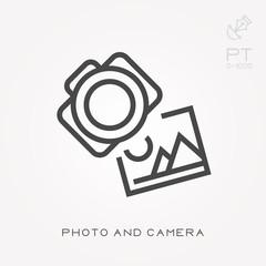 Line icon photo and camera
