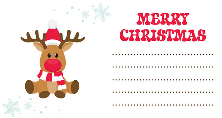 cartoon christmas deer christmas card