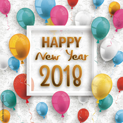 golden happy new year balloons 2018 particles confetti black background stock image and royalty free vector files on fotoliacom pic 183917817