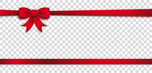 Card Red Ribbon Bow Header Transparent
