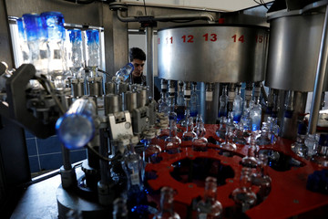 An employee works at a conveyor line for the production of Turkey's popular alcoholic drink raki at the Infotex Alkollu Icecekler plant in the town of Dinar