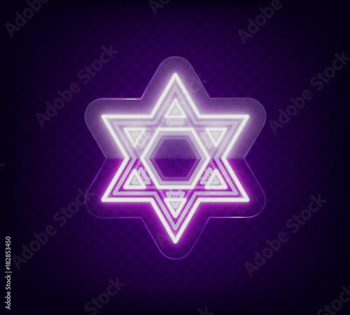 Star Of David Neon Sign The Symbol Of Judaism Vector Illustration