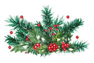 watercolor christmas composition
