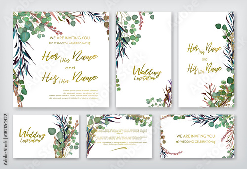Wedding invitation frame set flowers leaves watercolor isolated wedding invitation frame set flowers leaves watercolor isolated on white sketched stopboris Image collections