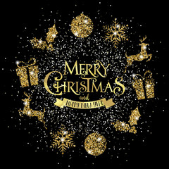 Ghirlanda di Natale, Glitter, Oro