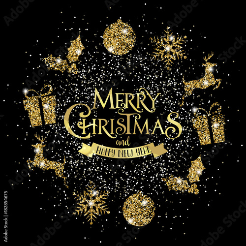 Immagini Glitterate Di Natale.Ghirlanda Di Natale Glitter Oro Stock Image And Royalty