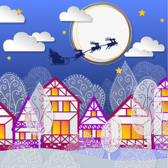 winter night background with houses and santa