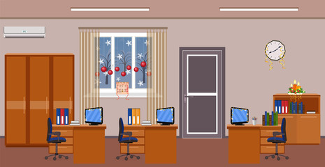 Christmas office room interior decoration. Holiday design of work spaces with winter landscape outside window.