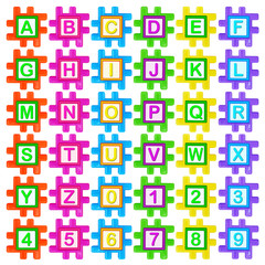 Coloured plastic puzzles with the alphabet
