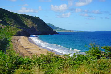 Empty beach on the Atlantic coast in the south of St Kitts